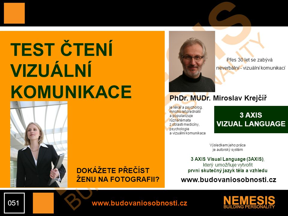 TEST ČTENÍ VIZUÁLNÍ KOMUNIKACE PhDr. MUDr. Miroslav Krejčíř 3 AXIS