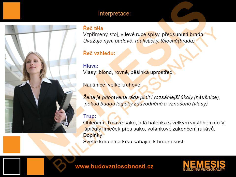 Interpretace: www.budovaniosobnosti.cz Řeč těla