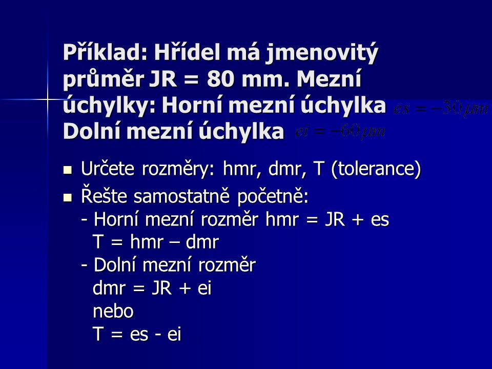 Příklad: Hřídel má jmenovitý průměr JR = 80 mm