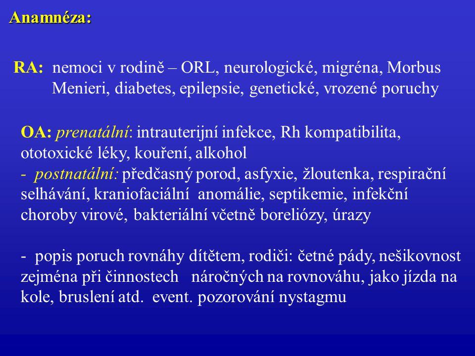 Anamnéza: RA: nemoci v rodině – ORL, neurologické, migréna, Morbus. Menieri, diabetes, epilepsie, genetické, vrozené poruchy.