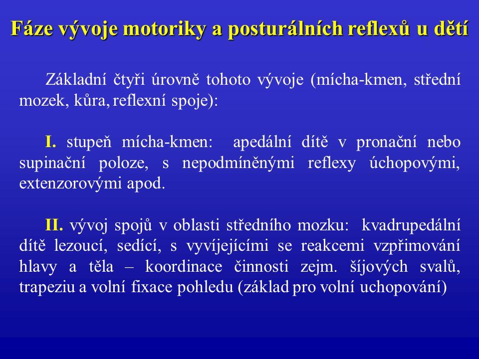 Fáze vývoje motoriky a posturálních reflexů u dětí