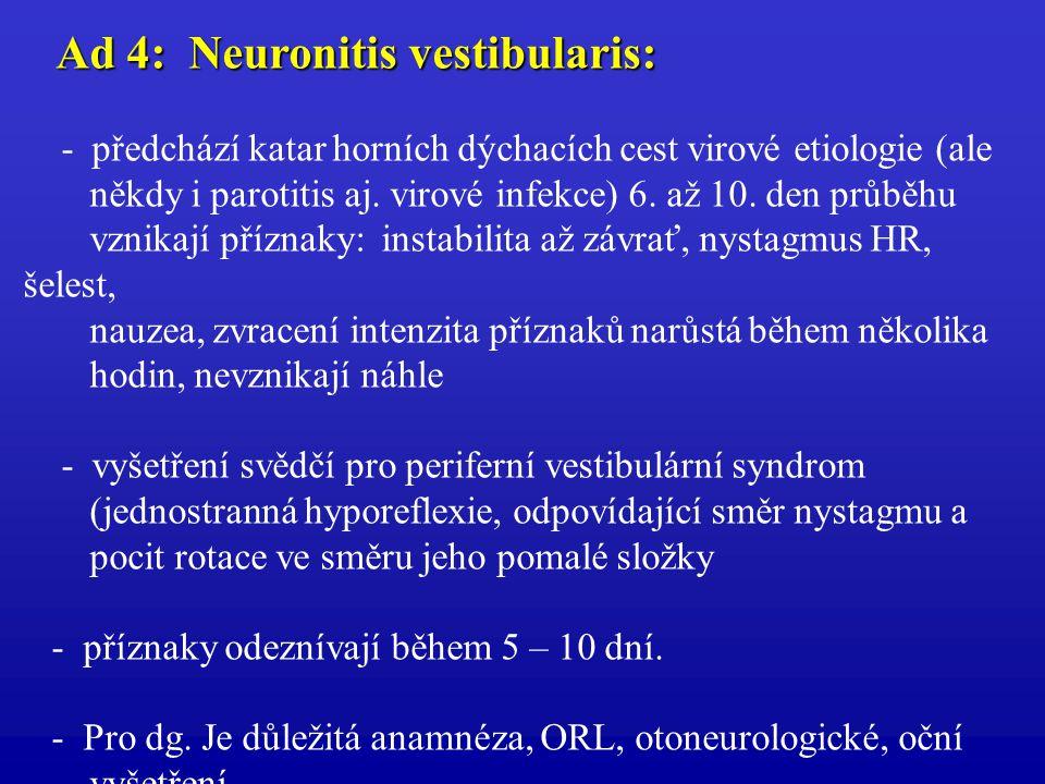 Ad 4: Neuronitis vestibularis: