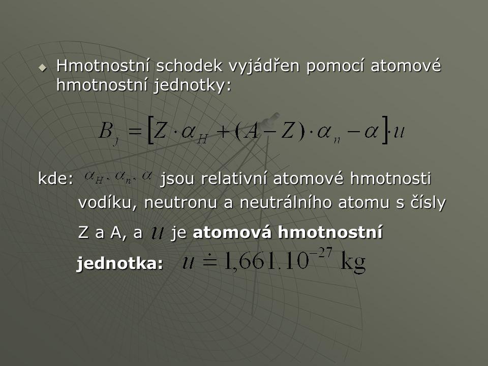 Hmotnostní schodek vyjádřen pomocí atomové hmotnostní jednotky: