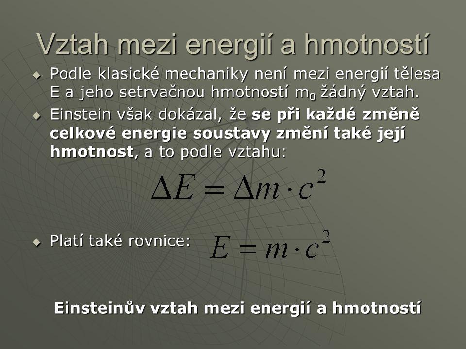 Vztah mezi energií a hmotností