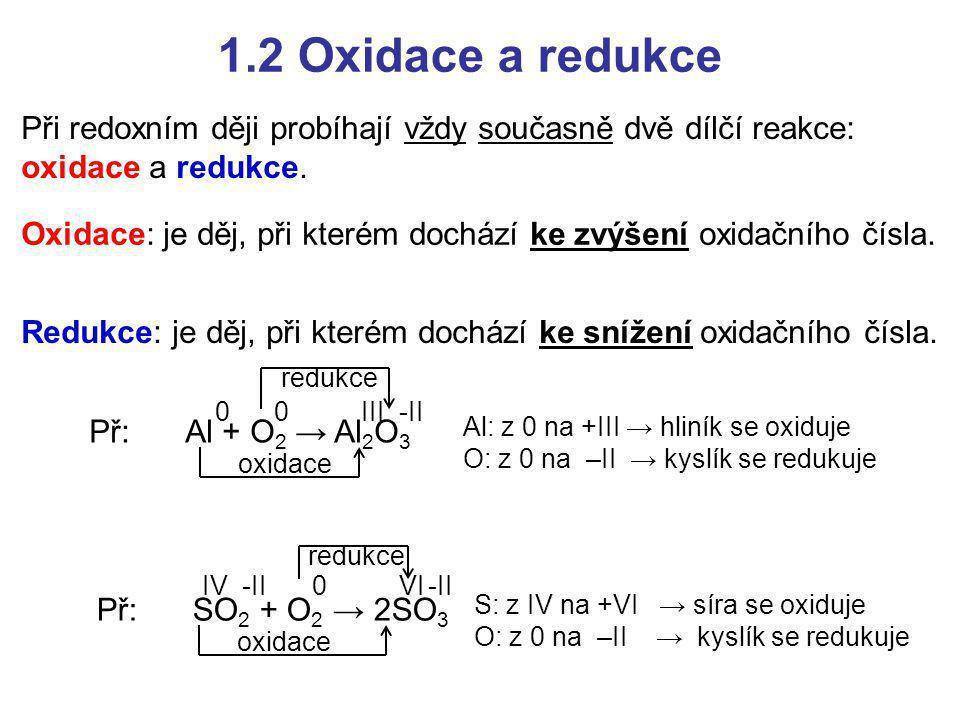 1.2 Oxidace a redukce Při redoxním ději probíhají vždy současně dvě dílčí reakce: oxidace a redukce.
