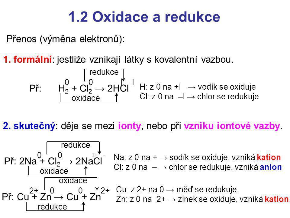 1.2 Oxidace a redukce Přenos (výměna elektronů):