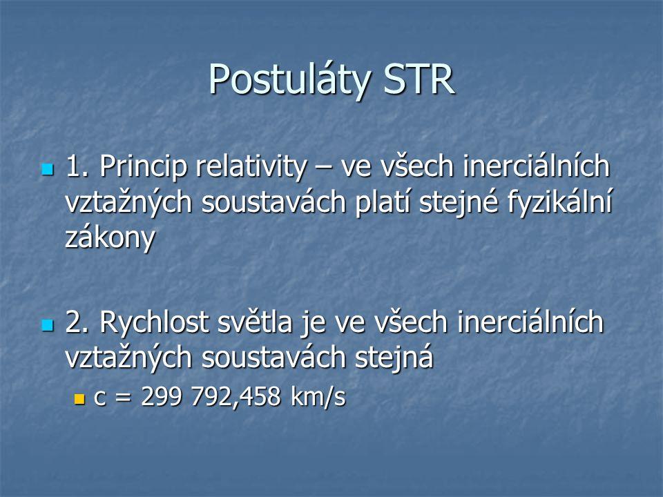 Postuláty STR 1. Princip relativity – ve všech inerciálních vztažných soustavách platí stejné fyzikální zákony.