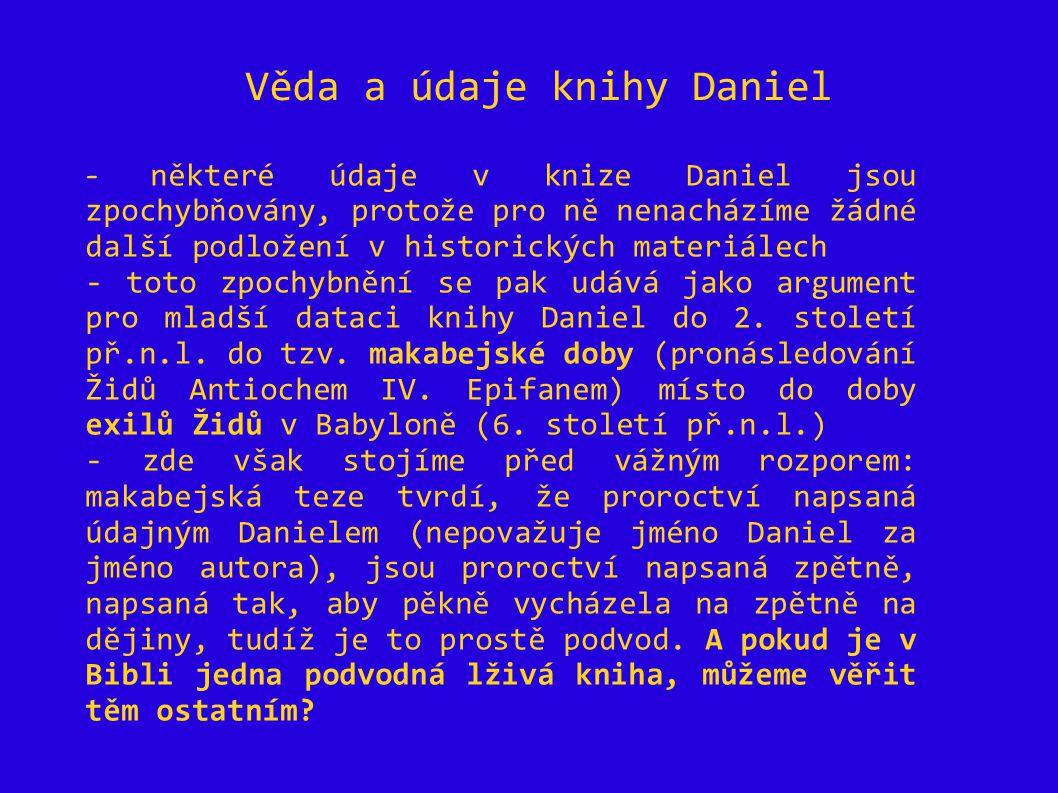 Věda a údaje knihy Daniel