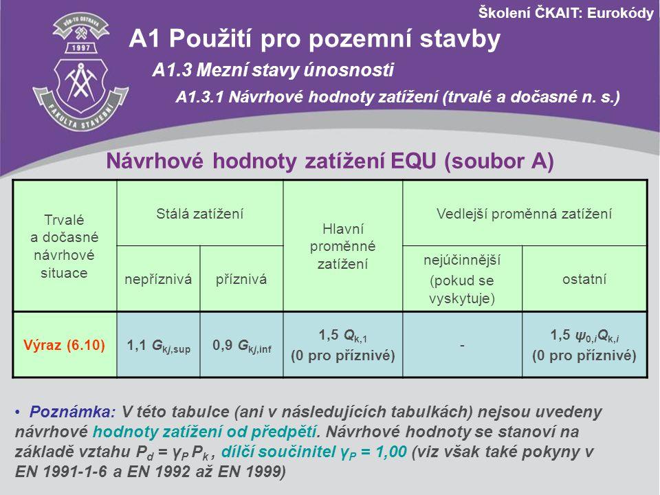 Návrhové hodnoty zatížení EQU (soubor A)