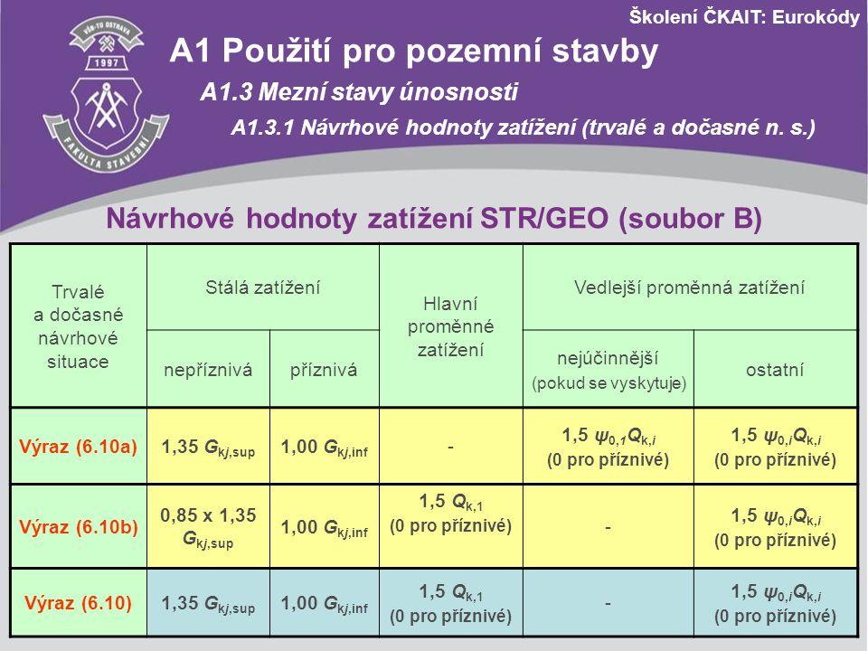 Návrhové hodnoty zatížení STR/GEO (soubor B)