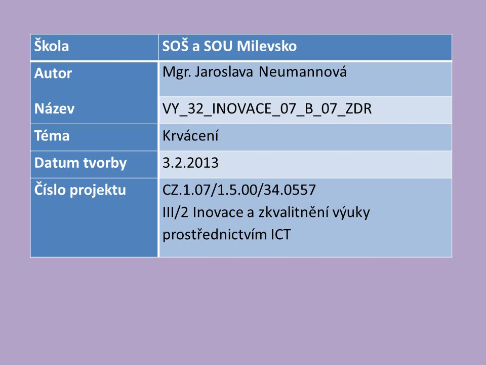 Škola SOŠ a SOU Milevsko. Autor. Mgr. Jaroslava Neumannová. Název. VY_32_INOVACE_07_B_07_ZDR. Téma.