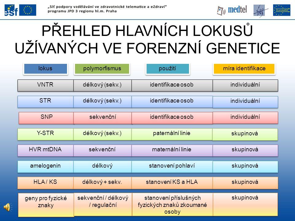PŘEHLED HLAVNÍCH LOKUSŮ UŽÍVANÝCH VE FORENZNÍ GENETICE