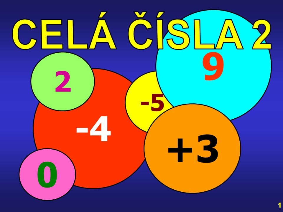 9 CELÁ ČÍSLA 2 2 -4 -5 +3 1