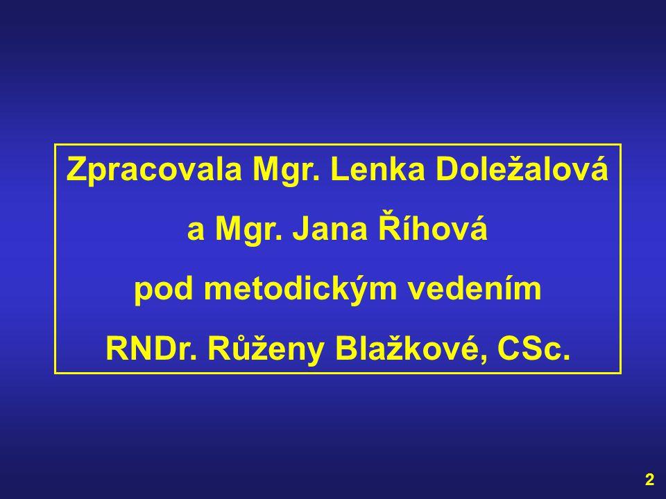 Zpracovala Mgr. Lenka Doležalová a Mgr. Jana Říhová