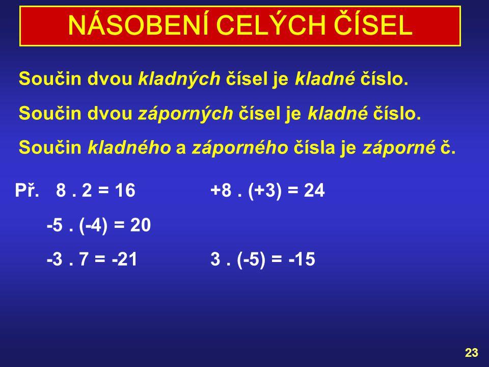 NÁSOBENÍ CELÝCH ČÍSEL Součin dvou kladných čísel je kladné číslo.
