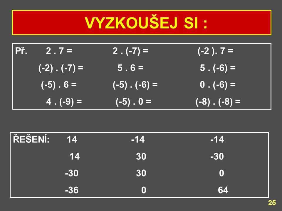 VYZKOUŠEJ SI : Př. 2 . 7 = 2 . (-7) = (-2 ). 7 =