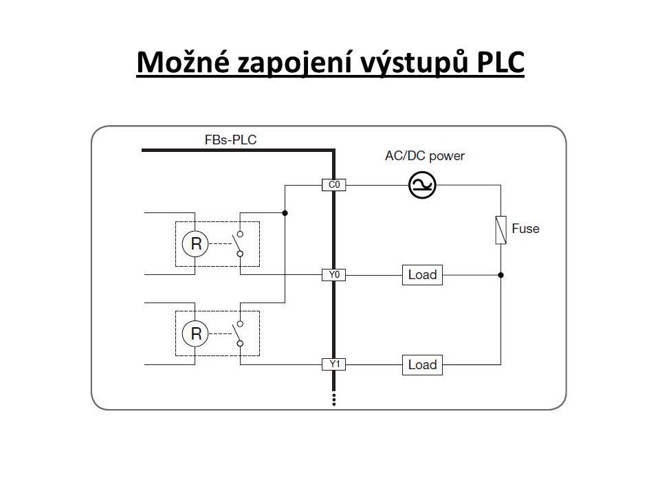 Možné zapojení výstupů PLC