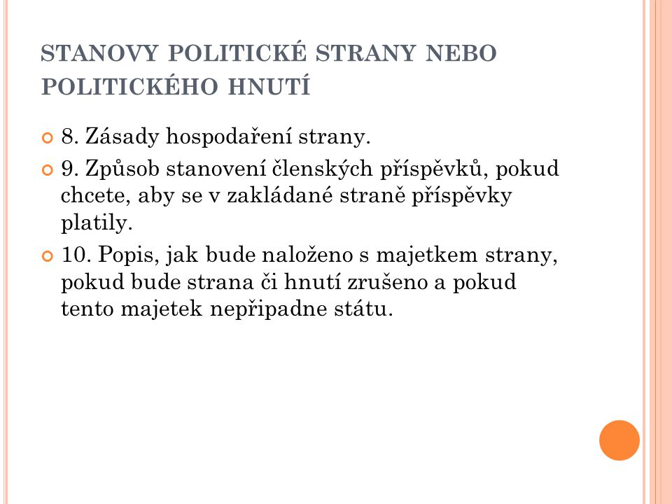 stanovy politické strany nebo politického hnutí