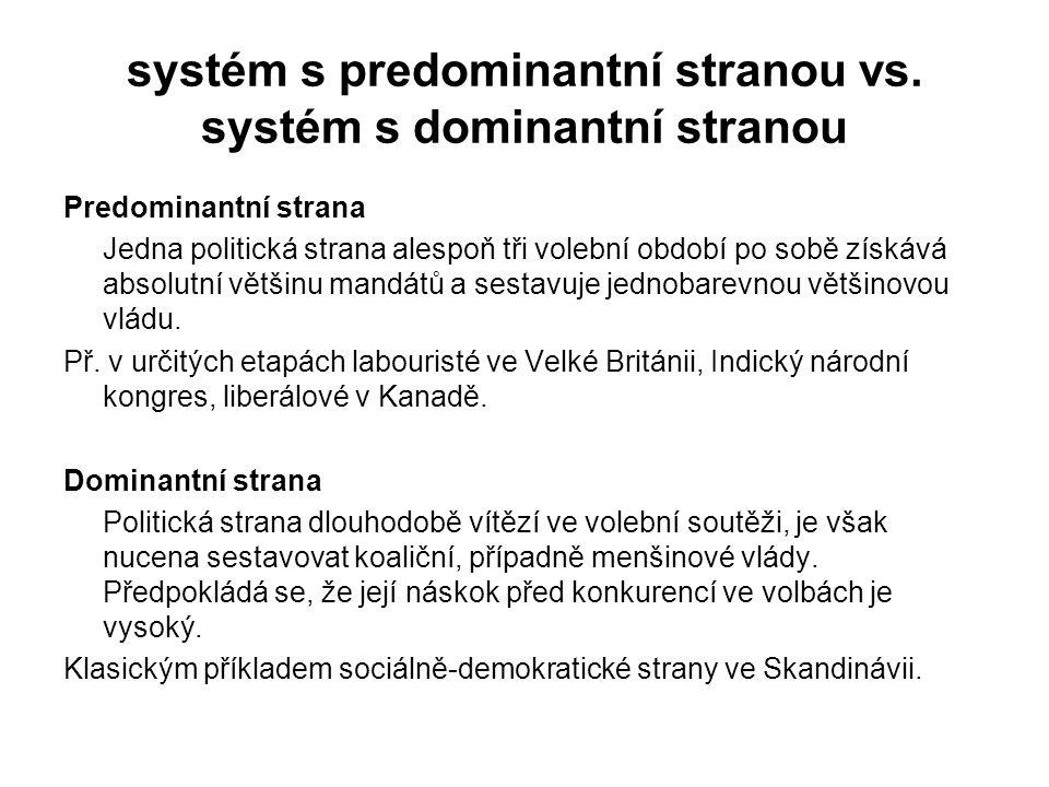 systém s predominantní stranou vs. systém s dominantní stranou