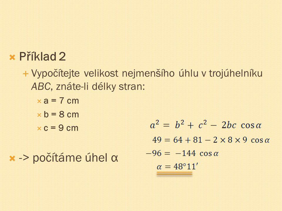 Příklad 2 -> počítáme úhel α