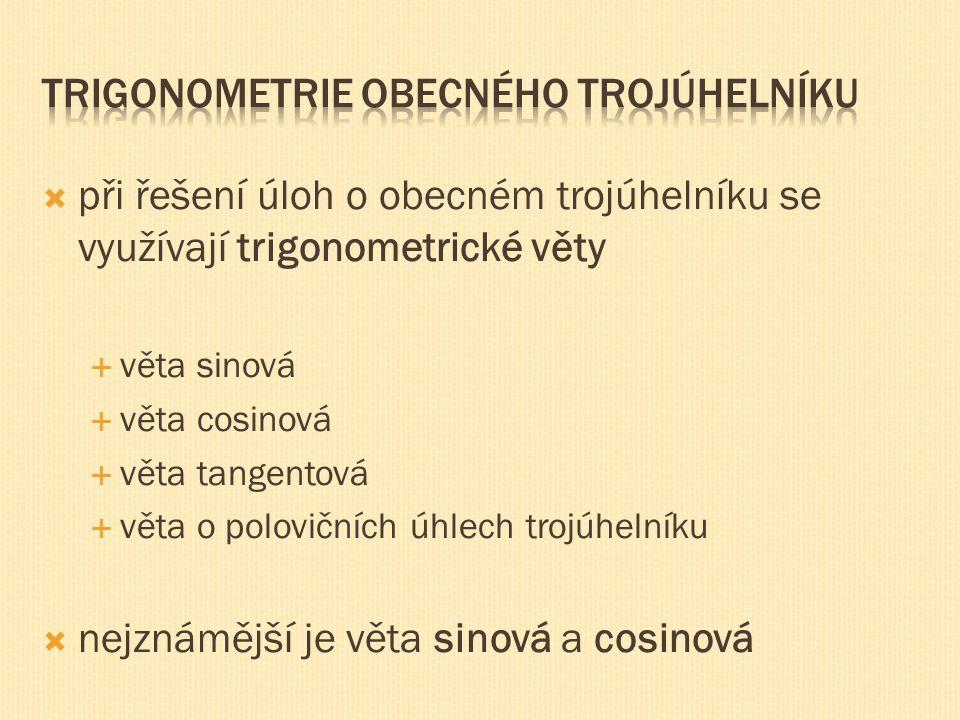 Trigonometrie obecného trojúhelníku