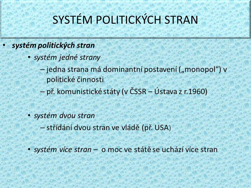 SYSTÉM POLITICKÝCH STRAN