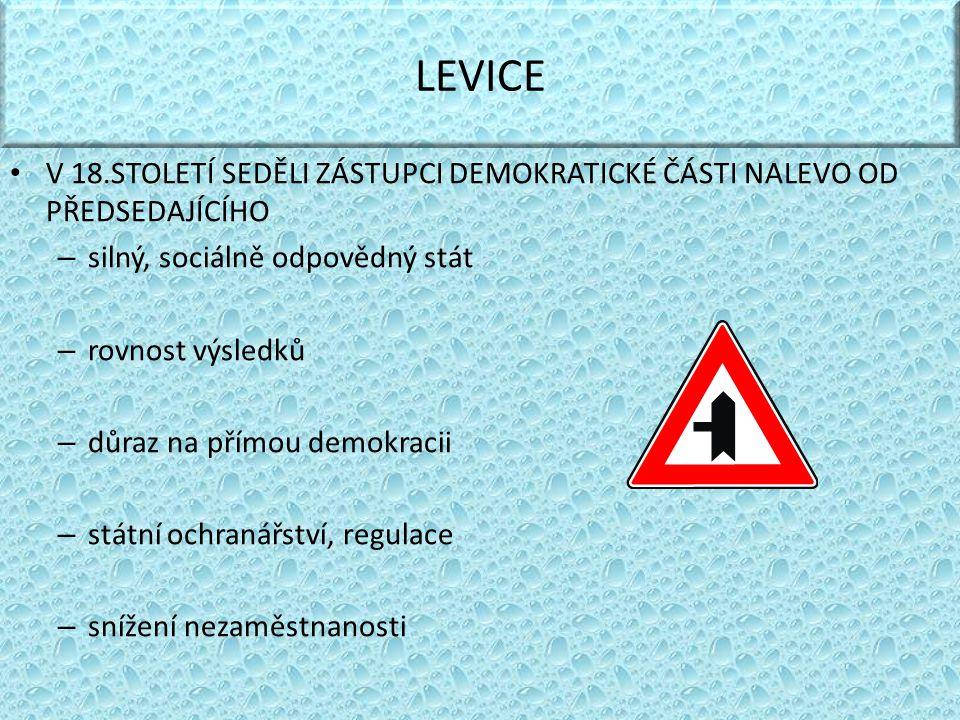 LEVICE V 18.STOLETÍ SEDĚLI ZÁSTUPCI DEMOKRATICKÉ ČÁSTI NALEVO OD PŘEDSEDAJÍCÍHO. silný, sociálně odpovědný stát.