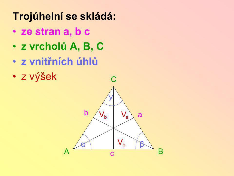 Trojúhelní se skládá: ze stran a, b c z vrcholů A, B, C