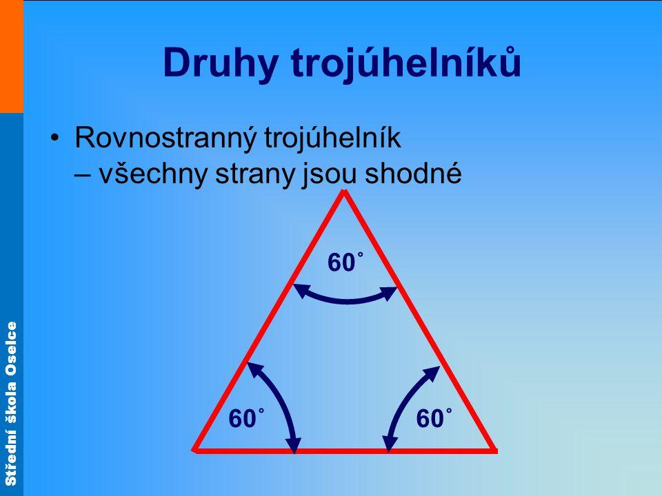 Druhy trojúhelníků Rovnostranný trojúhelník – všechny strany jsou shodné 60˚ 60˚ 60˚