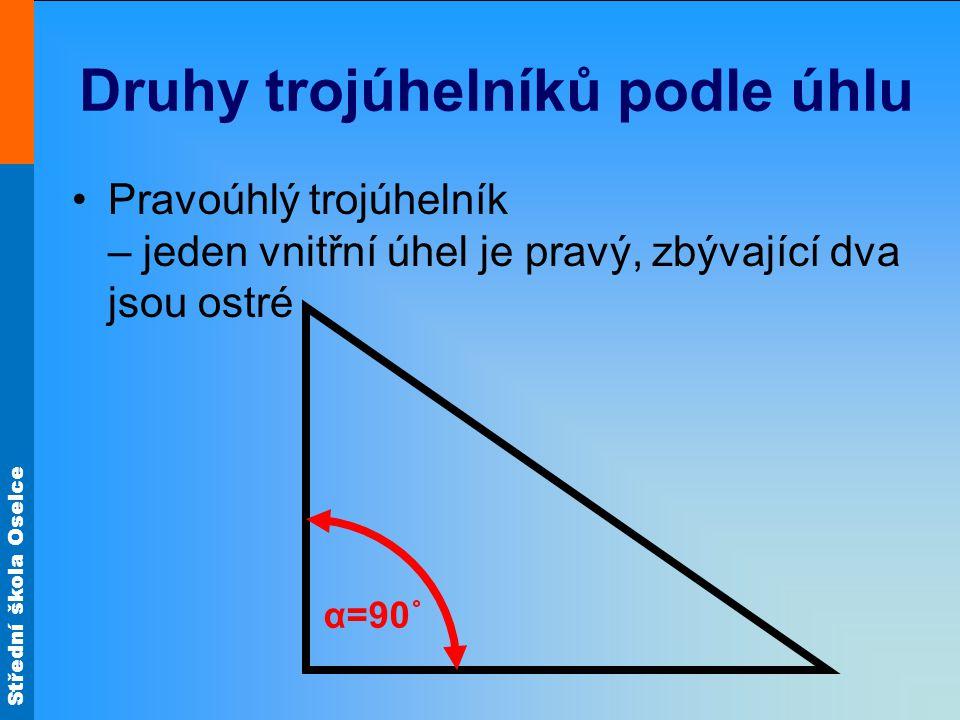 Druhy trojúhelníků podle úhlu