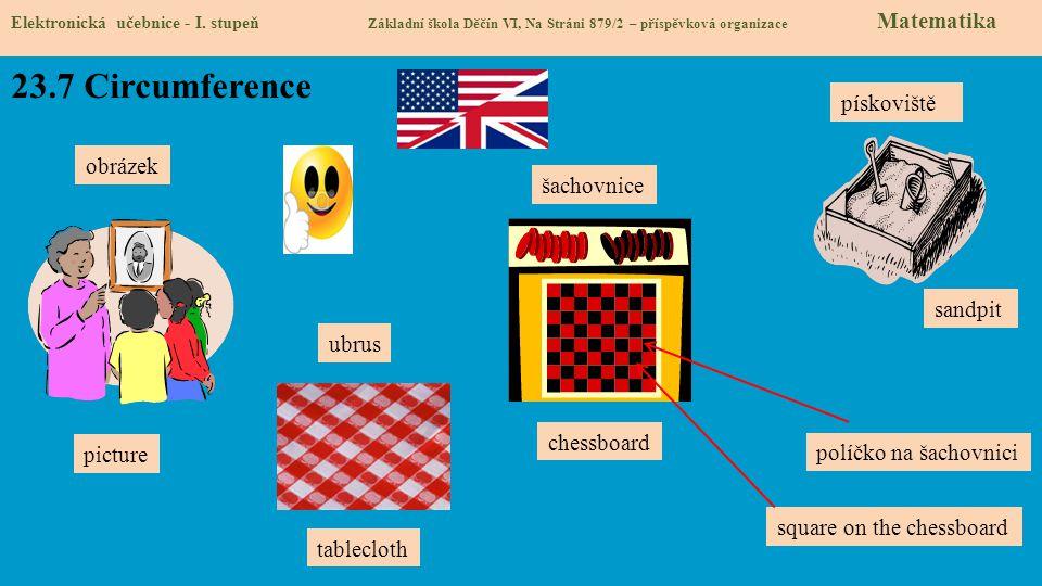 23.7 Circumference pískoviště obrázek šachovnice sandpit ubrus