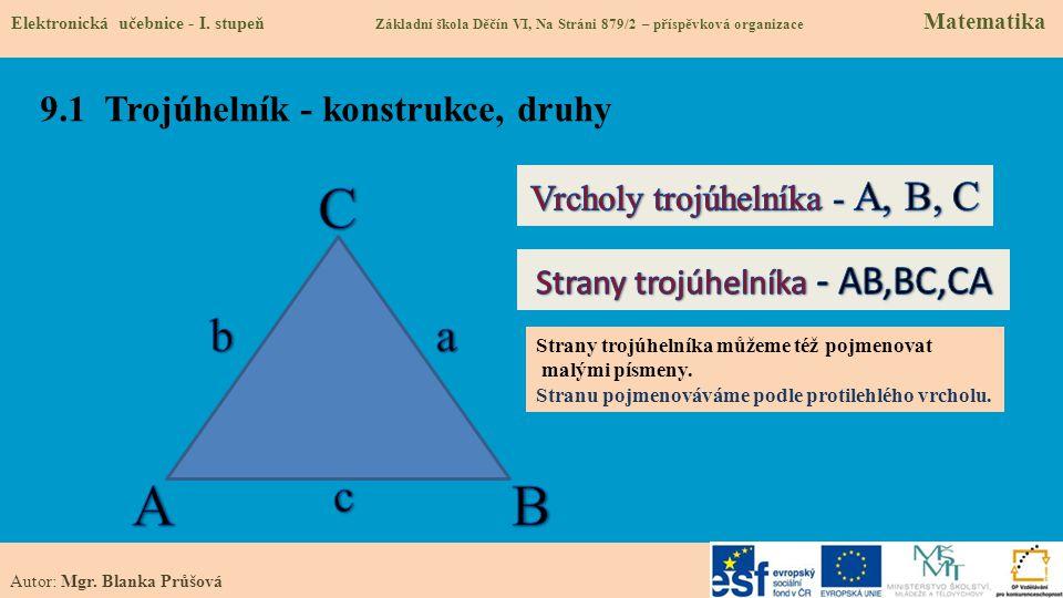 9.1 Trojúhelník - konstrukce, druhy