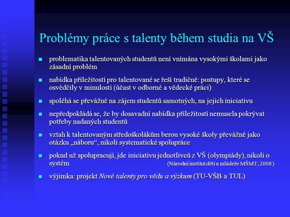 Problémy práce s talenty během studia na VŠ