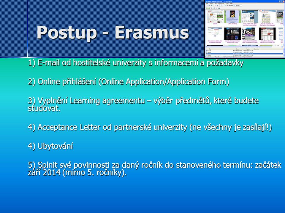 Postup - Erasmus 1) E-mail od hostitelské univerzity s informacemi a požadavky. 2) Online přihlášení (Online Application/Application Form)