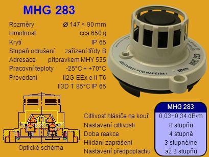 MHG 283 Rozměry  147 × 90 mm Hmotnost cca 650 g Krytí IP 65