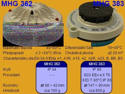 MHG 362 MHG 383 Maximální teplota 45÷90°C Diferenciální část 10÷45°C