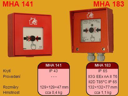 MHA 141 MHA 183 MHA 141 MHA 183 Krytí IP 43 IP 65