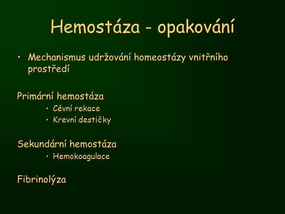 Hemostáza - opakování Mechanismus udržování homeostázy vnitřního prostředí. Primární hemostáza. Cévní rekace.