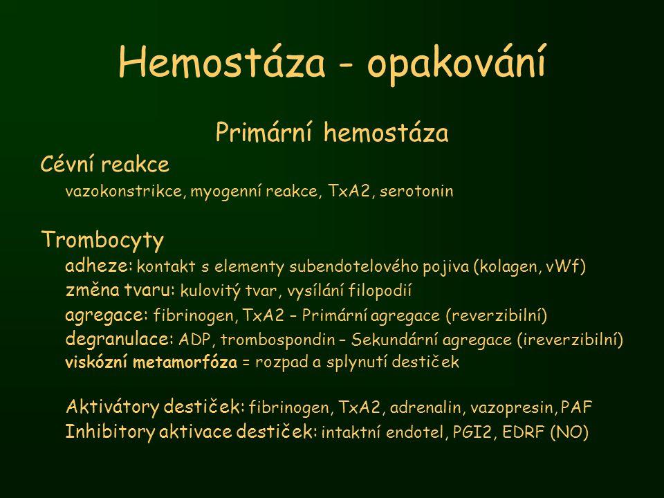 Hemostáza - opakování Primární hemostáza Cévní reakce Trombocyty