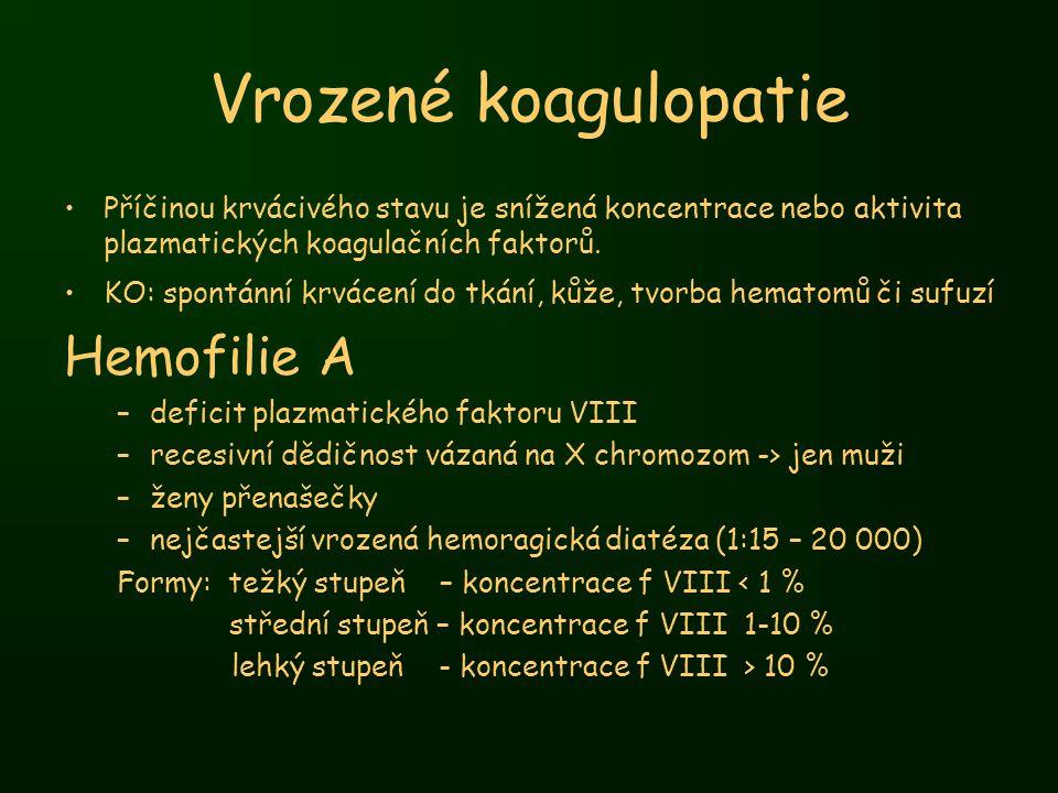 Vrozené koagulopatie Hemofilie A