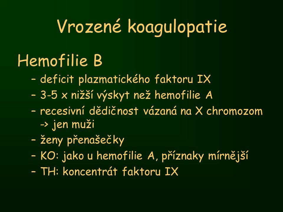 Vrozené koagulopatie Hemofilie B deficit plazmatického faktoru IX