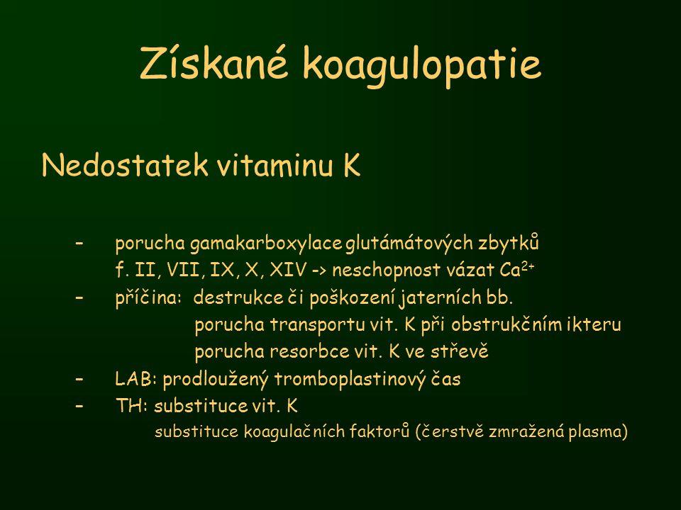 Získané koagulopatie Nedostatek vitaminu K