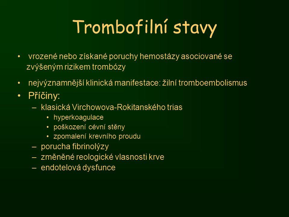 Trombofilní stavy Příčiny: