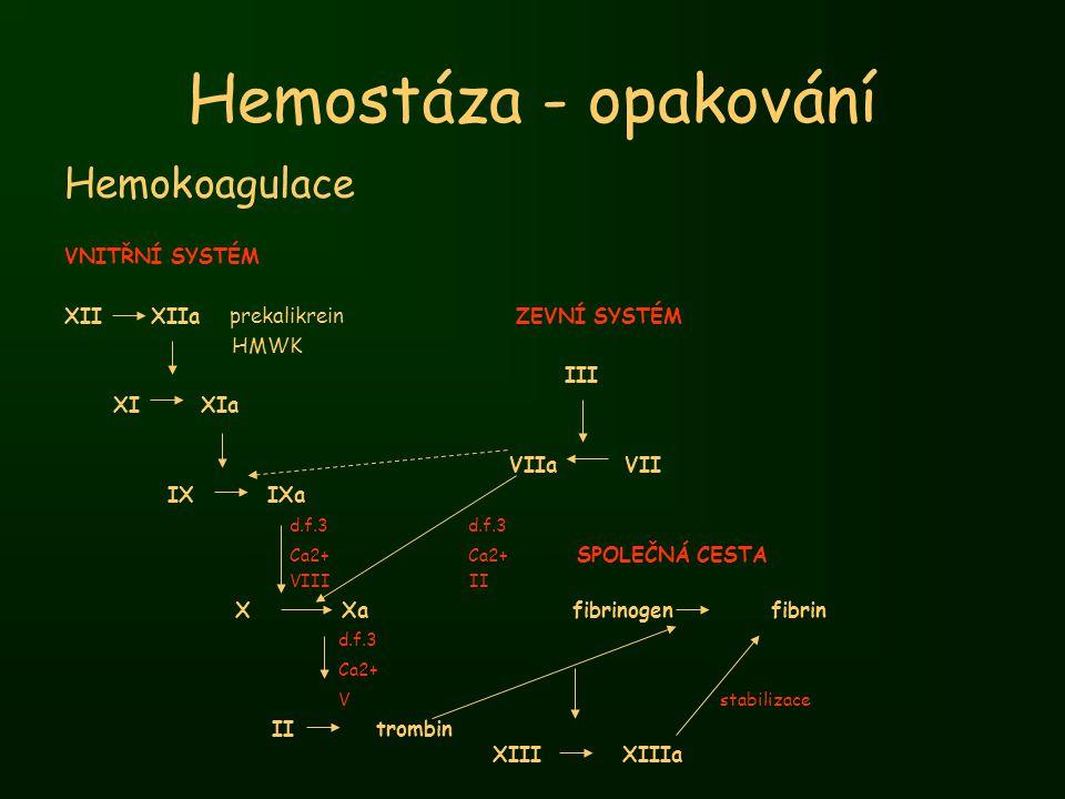 Hemostáza - opakování Hemokoagulace VNITŘNÍ SYSTÉM