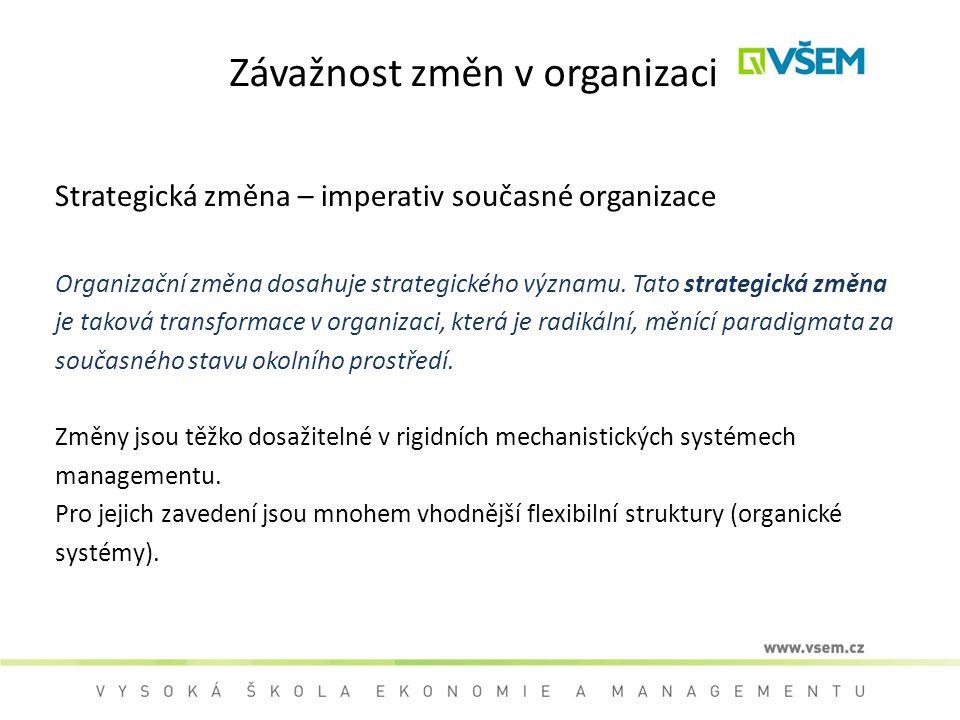 Závažnost změn v organizaci