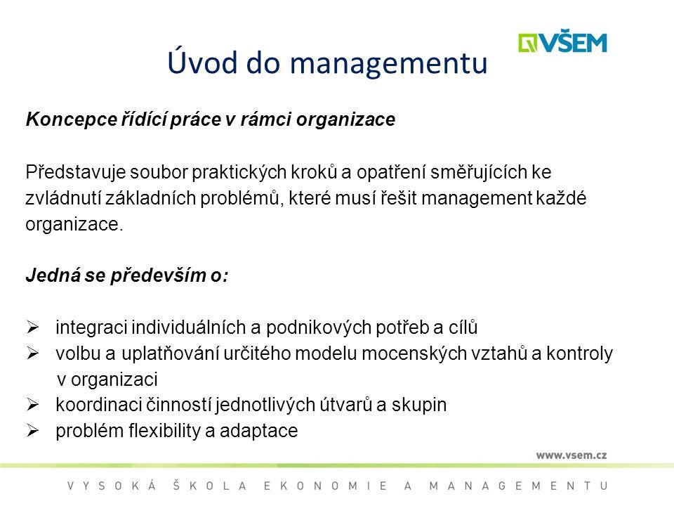 Úvod do managementu Koncepce řídící práce v rámci organizace