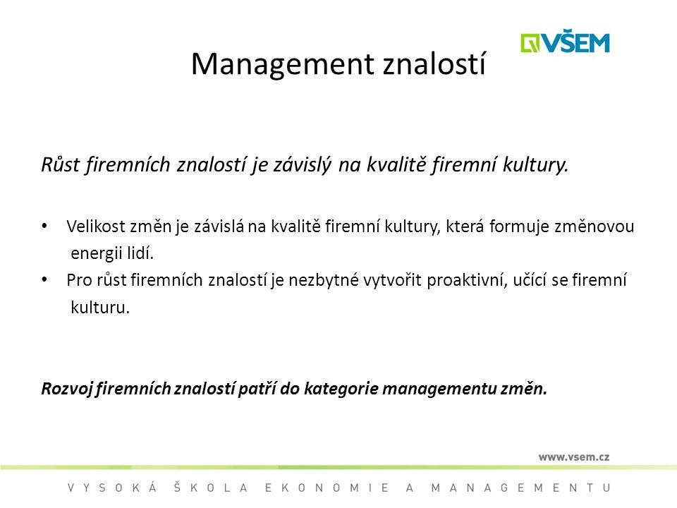 Management znalostí Růst firemních znalostí je závislý na kvalitě firemní kultury.