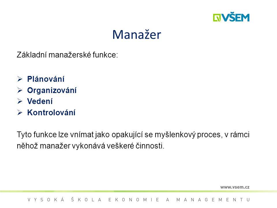 Manažer Základní manažerské funkce: Plánování Organizování Vedení
