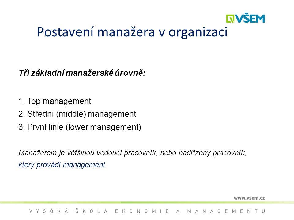 Postavení manažera v organizaci