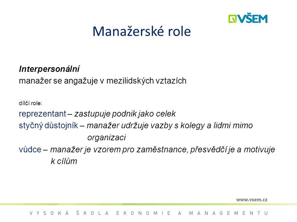 Manažerské role Interpersonální